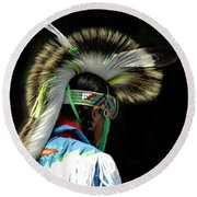Native American Boy Round Beach Towel