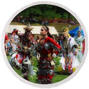 Native American Dancers Round Beach Towel