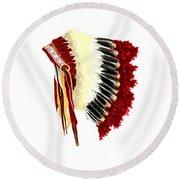 Native American Headdress Round Beach Towel