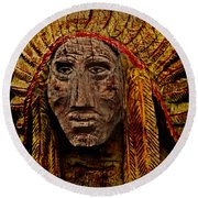 Native American In Wood 1886 Round Beach Towel