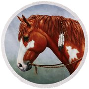 Native American Pinto Horse Round Beach Towel by Crista Forest