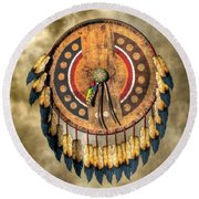 Native American Shield Round Beach Towel