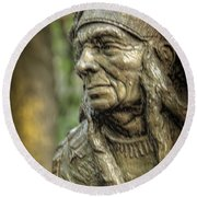 Native American Statue At Niagara Falls State Park Round Beach Towel