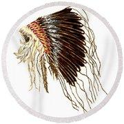 Native American War Bonnet - Plains Indians Round Beach Towel
