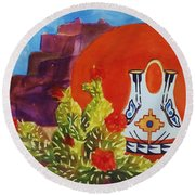 Native American Wedding Vase And Cactus Round Beach Towel