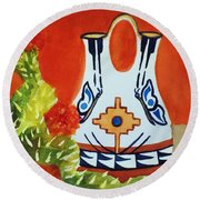 Native American Wedding Vase And Cactus-square Format Round Beach Towel