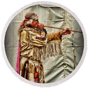 Native American With Blowgun Round Beach Towel