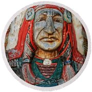 Native American Wood Carving Round Beach Towel