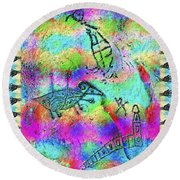 Native Legends I Round Beach Towel