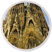 Nativity Facade - Sagrada Familia Round Beach Towel