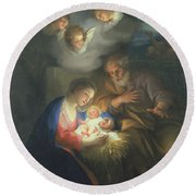 Nativity Scene Round Beach Towel