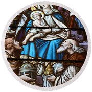 Nativity Stained Glass Round Beach Towel