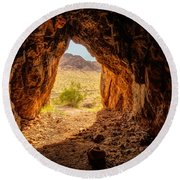 Natural Cave Above The Valley Of Fire Round Beach Towel
