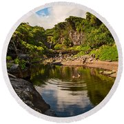 Natural Pool - The Beautiful Scene Of The Seven Sacred Pools Of Maui. Round Beach Towel