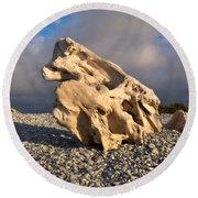 Naturally Sculpted Waterworn Wood On Pebble Beach Round Beach Towel