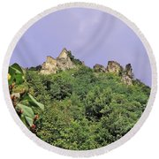 Nature And Medieval Ruins Round Beach Towel