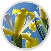 Nature Art Prints Yellow White Irises Flowers Round Beach Towel