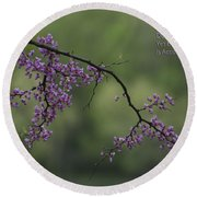 Nature Does Not Hurry Blossoms In Purple Round Beach Towel