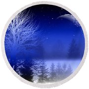 Nature In Blue  Round Beach Towel