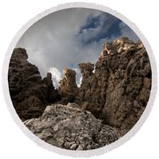 A Stunning Rock Wall Becomes A Wild Nature Sculpture In North Coast Of Minorca Europe Round Beach Towel