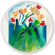 Natures Bouquet Abstract Round Beach Towel