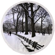 Nature's Canvas On A Wintry Day Round Beach Towel