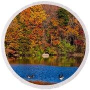 Natures Colorful Autumn Round Beach Towel