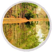 Nature's Green And Gold Round Beach Towel