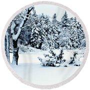 Natures Handywork - Snow Storm - Snow - Trees 2 Round Beach Towel