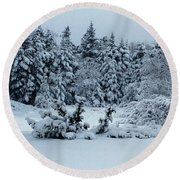 Natures Handywork - Snowstorm - Snow - Trees Round Beach Towel