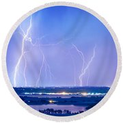 Natures Light Show Over The Boulder Reservoir  Round Beach Towel by James BO  Insogna