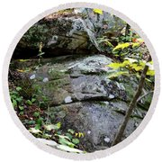 Nature's Mossy Boulders Round Beach Towel