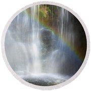 Natures Rainbow Falls Round Beach Towel