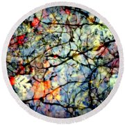 Natures Stained Glass Round Beach Towel by Karen Wiles