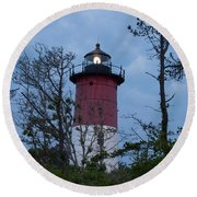 Nauset Lighthouse Amid The Scrub Pines Round Beach Towel