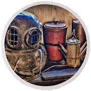 Nautical - Antique Dive Helmet Round Beach Towel