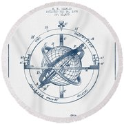Nautical Observation Apparatus Patent From 1895  -  Blue Ink Round Beach Towel
