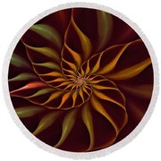 Nautilus Fractalus Tropical Round Beach Towel