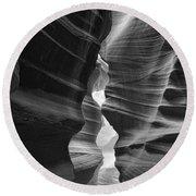 Antelope Canyon Black And White Round Beach Towel
