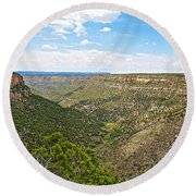 Navajo Canyon Overlook On Chapin Mesa Top Loop Road In Mesa Verde National Park-colorado Round Beach Towel