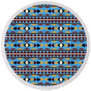 Navajo Blue Pattern Round Beach Towel