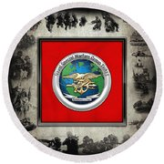 Naval Special Warfare Group Three - N S W G-3 - Over Navy S E A Ls Collage Round Beach Towel