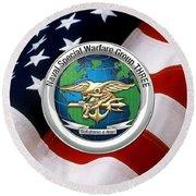 Naval Special Warfare Group Three - N S W G-3 - Over U. S. Flag Round Beach Towel