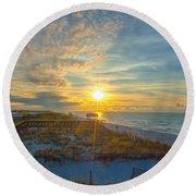 Navarre Beach Sunrise 2014 09 26 01 C 0650 Round Beach Towel