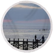 Navarre Beach Sunset Pier 10 Round Beach Towel