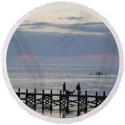 Navarre Beach Sunset Pier 11 Round Beach Towel
