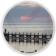 Navarre Beach Sunset Pier 17 Round Beach Towel