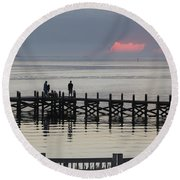 Navarre Beach Sunset Pier 18 Round Beach Towel