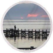 Navarre Beach Sunset Pier 21 Round Beach Towel