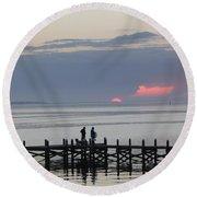 Navarre Beach Sunset Pier 22 Round Beach Towel